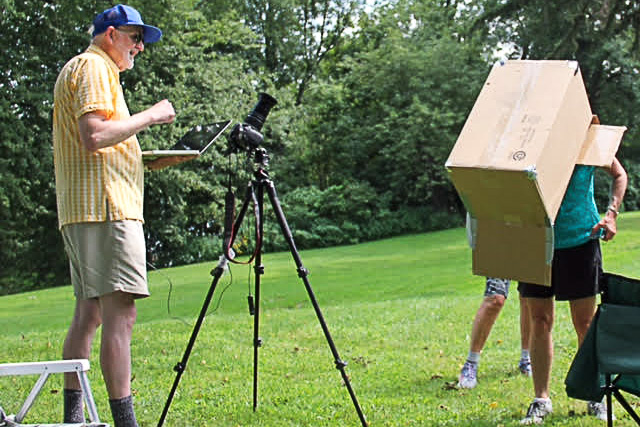High and low tech at Photo Club's Solar Eclipse Party August 21, 2017