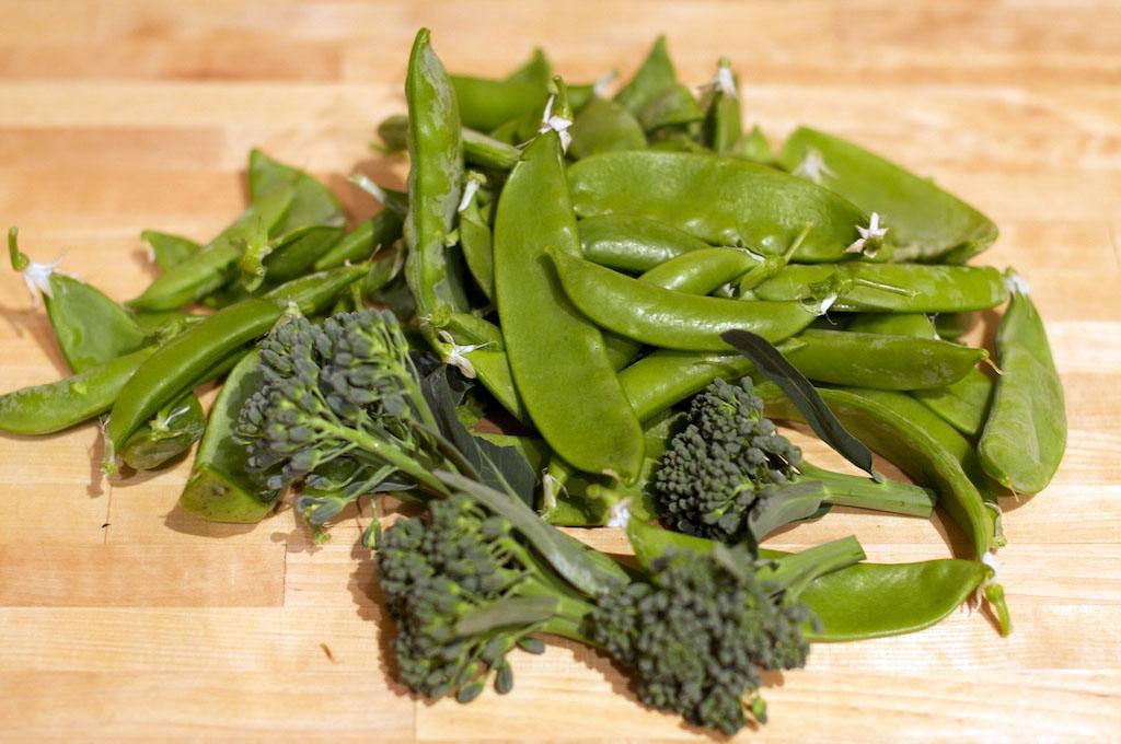 The last few day's harvest: plenty of sugar snap peas, snow peas and broccoli