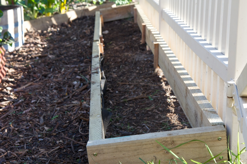The new garden bed behind the front fence
