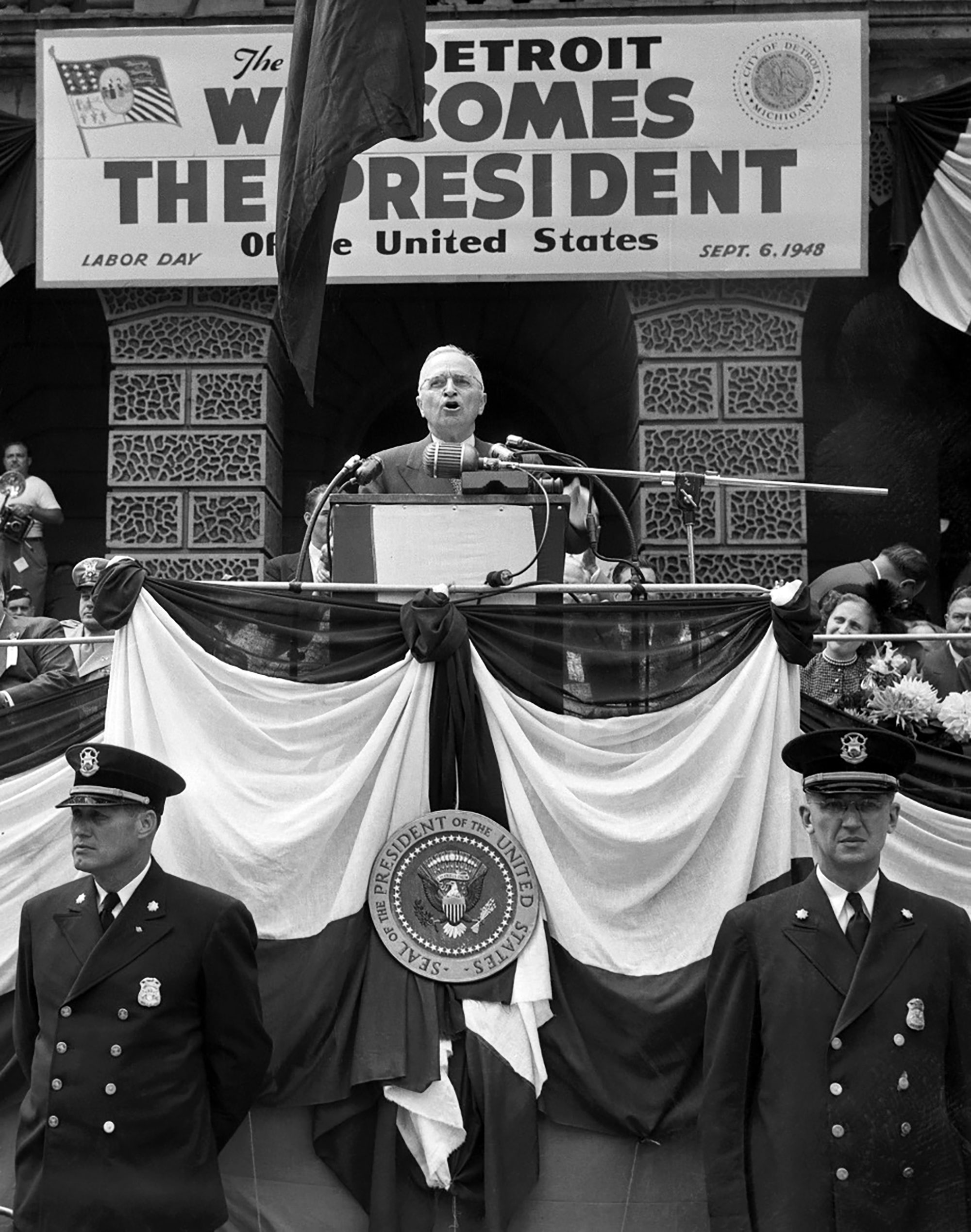 President Harry S. Truman speaking before 125,000 people in Detroit on Labor Day, 1948. Bettmann Archive — Getty Images