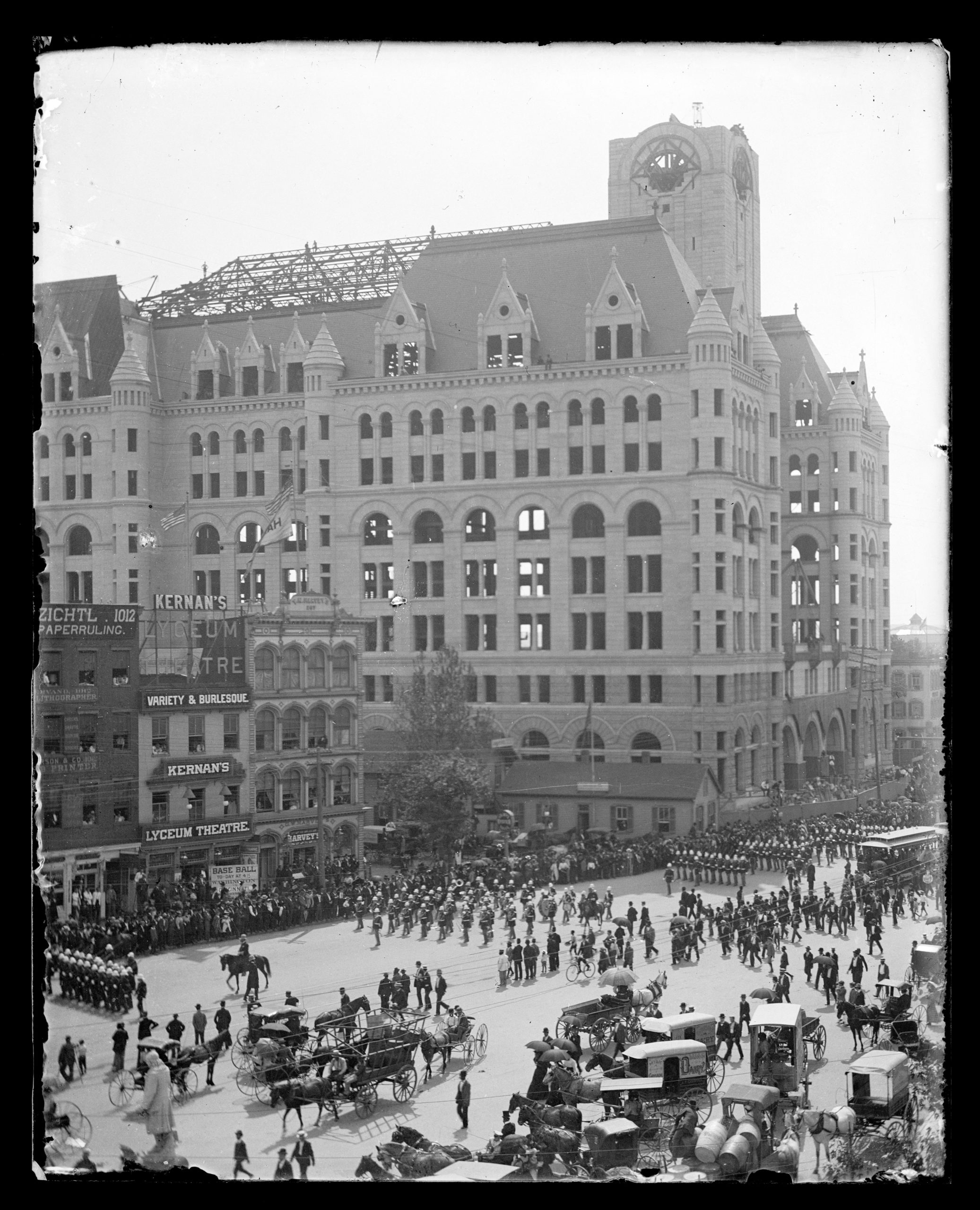 Labor Day parade on Pennsylvania Avenue in the vicinity of Kernan's Lyceum Theater and unfinished Post Office building in Washington D.C., 1894. Library of Congress