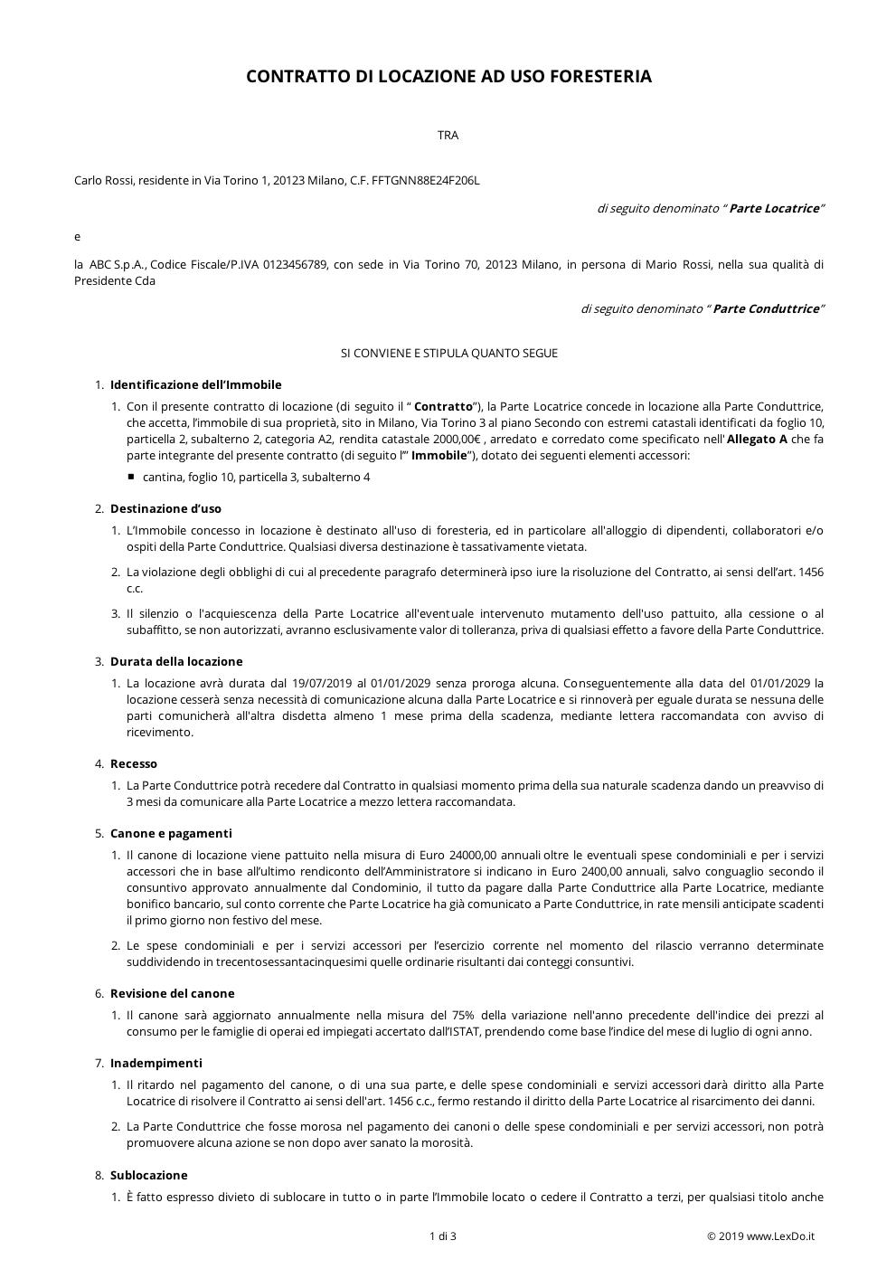 Contratto Di Locazione Ad Uso Foresteria Modello Gratis
