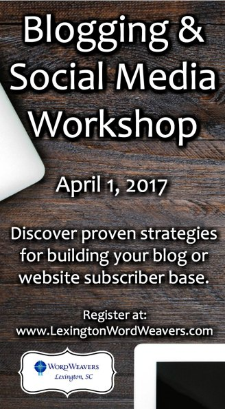 Blogging & Social Media Workshop featuring Gail Purath and hosted by Lexington SC Word Weavers
