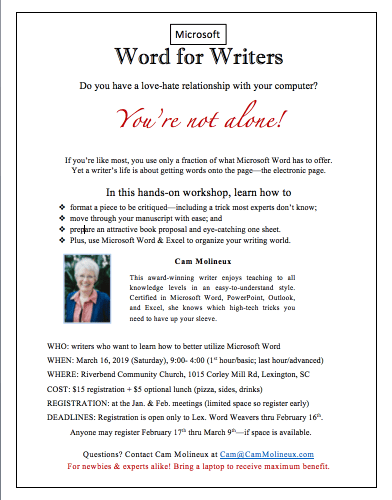 MS Word for Writers Workshop