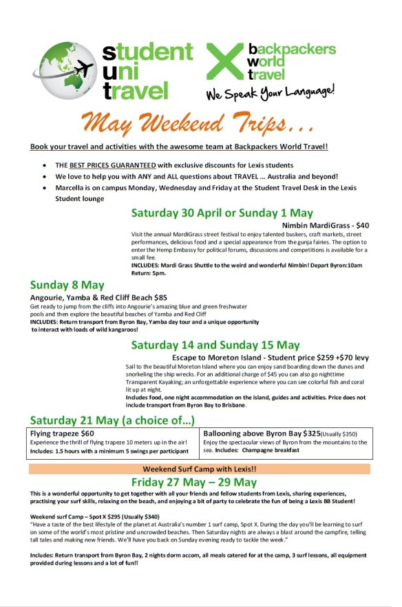 May Weekend Trips