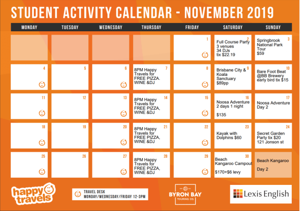 Weekend activity Calendar