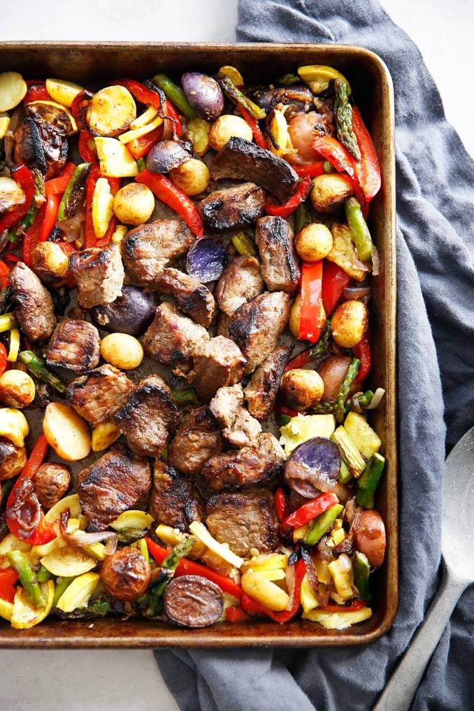 Lexi's Clean Kitchen | Sheet Pan Marinated Steak Tips with