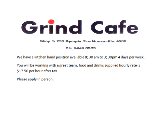 looking for work- grind cafe