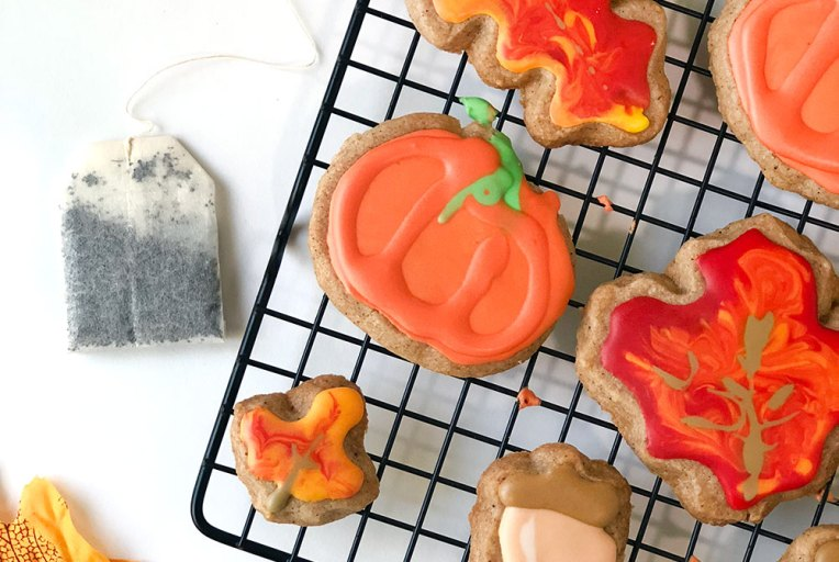 Chai Spiced Shortbread Cookies on Cooling Rack