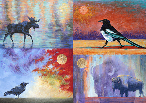 Composite image of four paintings by Lexi Sundell, showing a moose, a magpie, a raven, and a buffalo.
