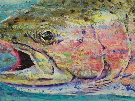 Rainbow trout in rushing water