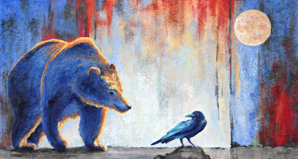 acrylic painting of grizzly bear and raven