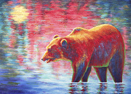 grizzly bear painting showing the bear wading in water