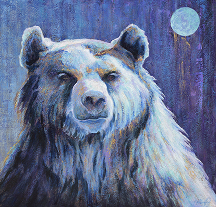 Blue grizzly bear under a shimmering moon painted by Lexi Sundell