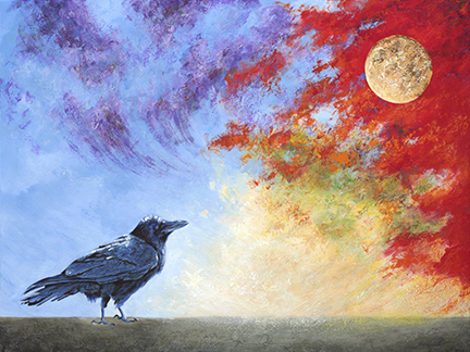Grounded raven pauses to hear the moon messages woven through the fiery sky.