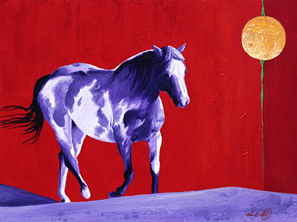 A startling purple and white horse, a pinto cow pony, makes its way across the landscape against a red sky and luminous moon.