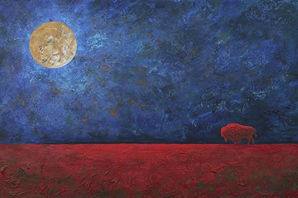 A distant red buffalo stands on a red foreground with a dark stormy blue sky and a large moon