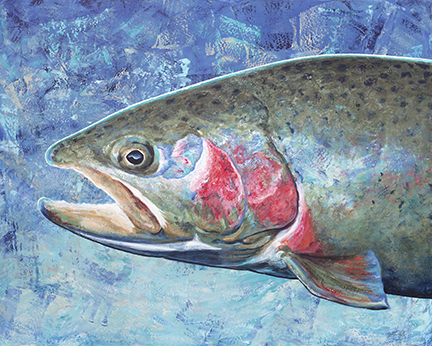 A rainbow trout gleams in an underwater setting.
