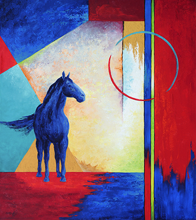 A blue horse is framed by a colorful geometric background