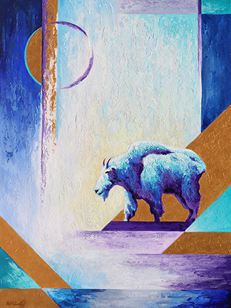 mountain goat stands suspended in blues and purples