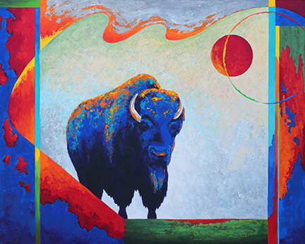 Powerful blue bison looms within flying red colors in the geometric background