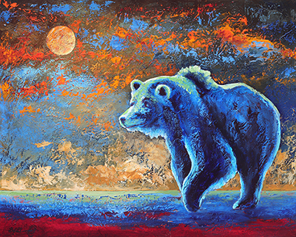 A curious grizzly bear investigates something under a glowing moon.