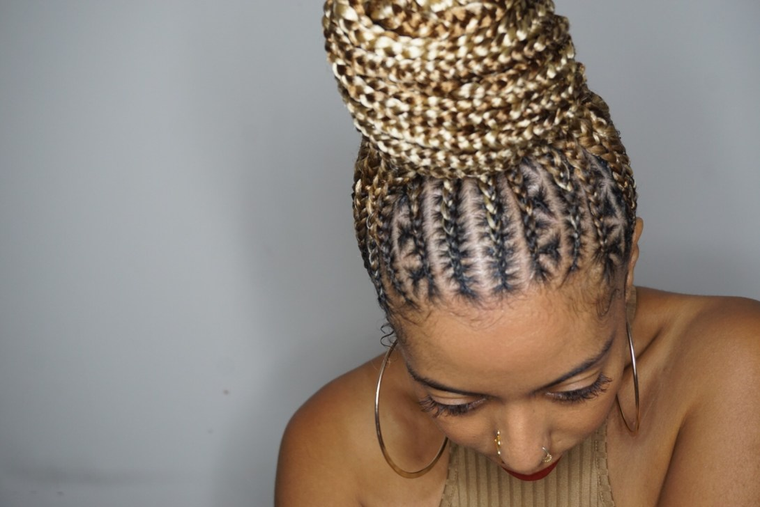 Braid cornrows bun Feed in stitch braids 27 613 pearl the stylist