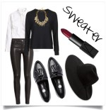 Get city fabulous in a pair of leather pants, penny loafers, and a fedora. It will add a bit of edge to your layered look!