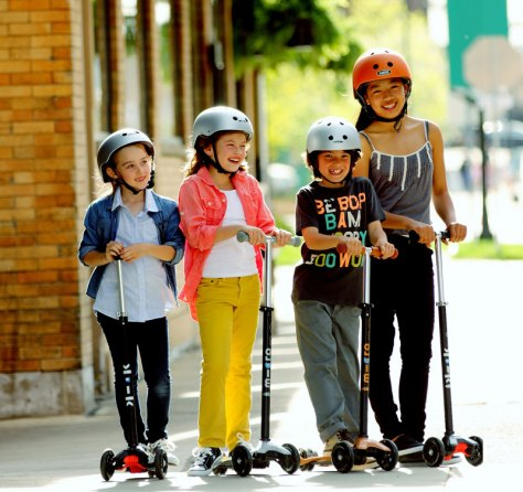 kids with scooters