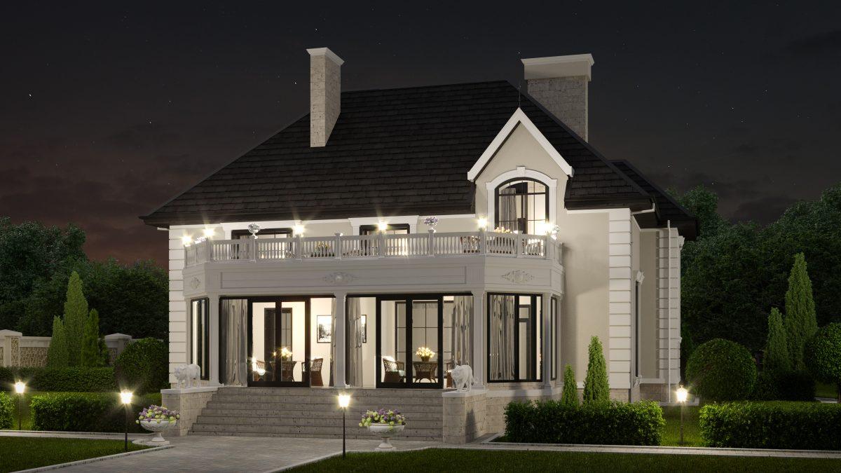 Дом в классическом стиле - ночь-Р1