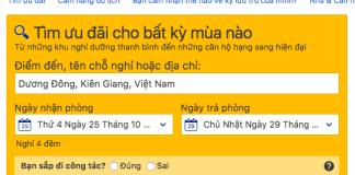 Nhập thông tin tìm kiếm trên Booking.com
