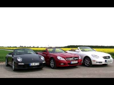 Car show with 3 cabrios – Mercedes SL350, Lexus SC430 and Porsche 911 Cabriolet S