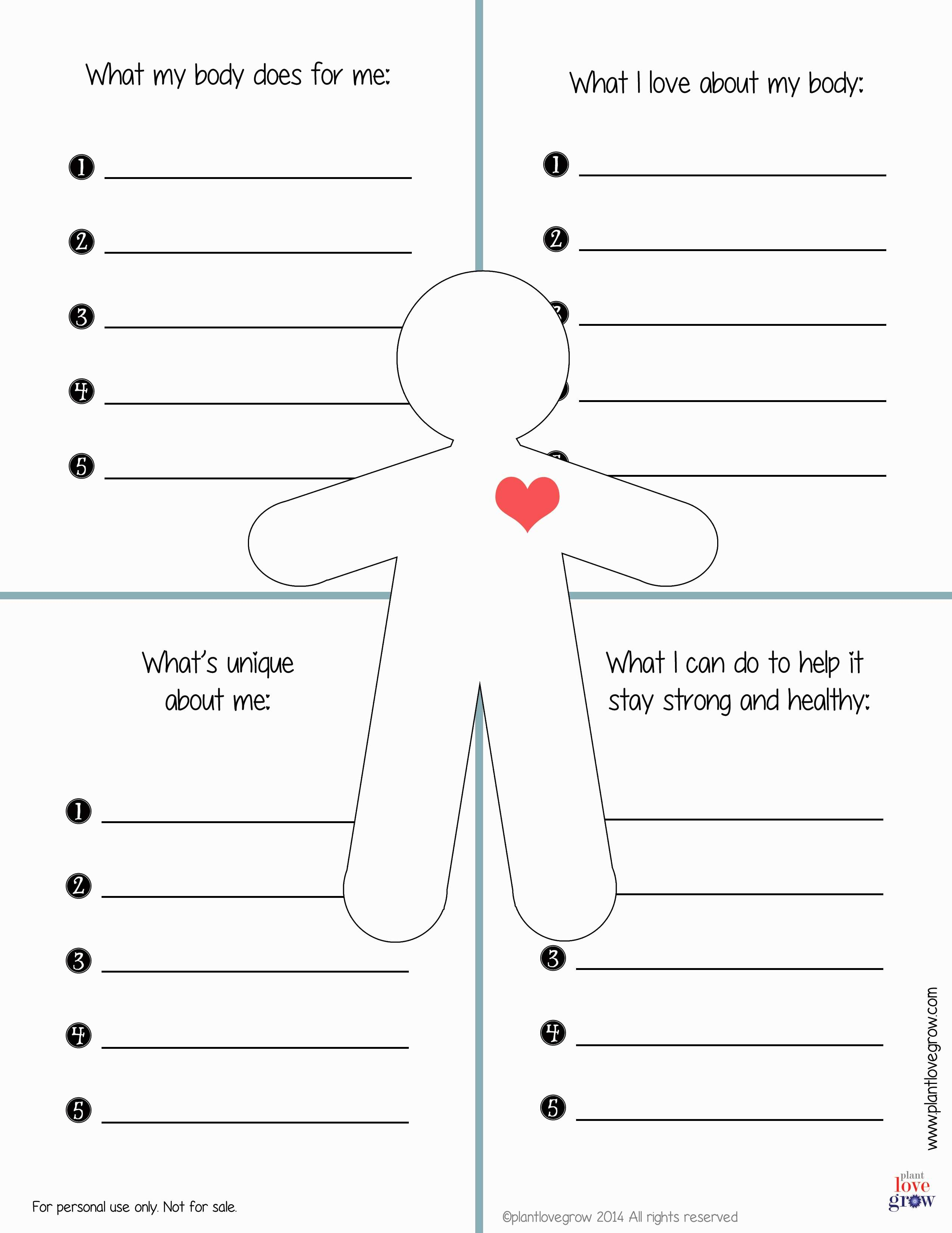 Self Esteem Building Worksheets Printable
