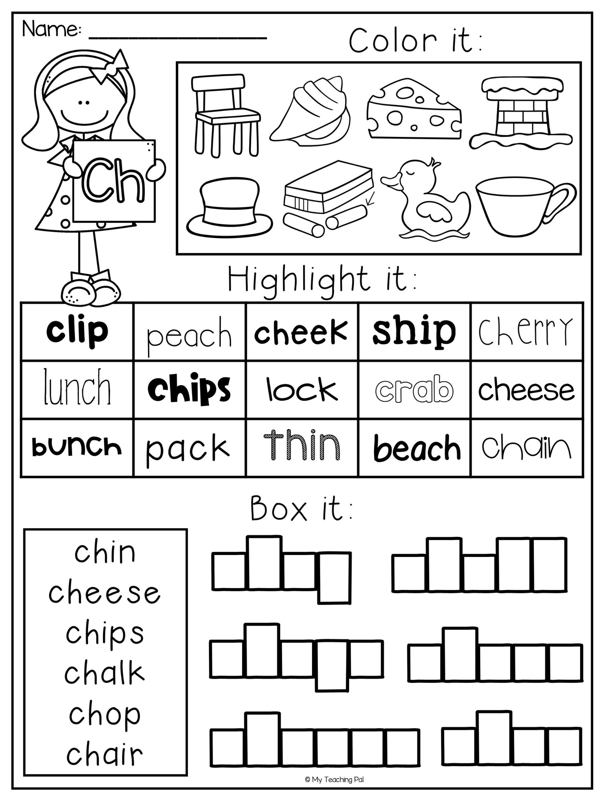 Digraph Worksheet Packet