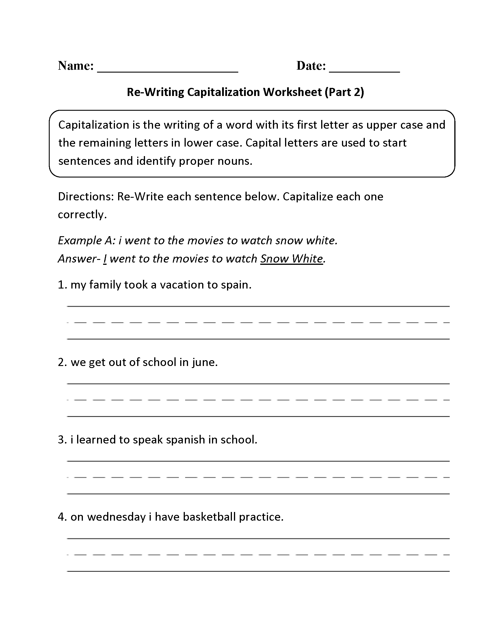 Free Printable Worksheets For Punctuation And