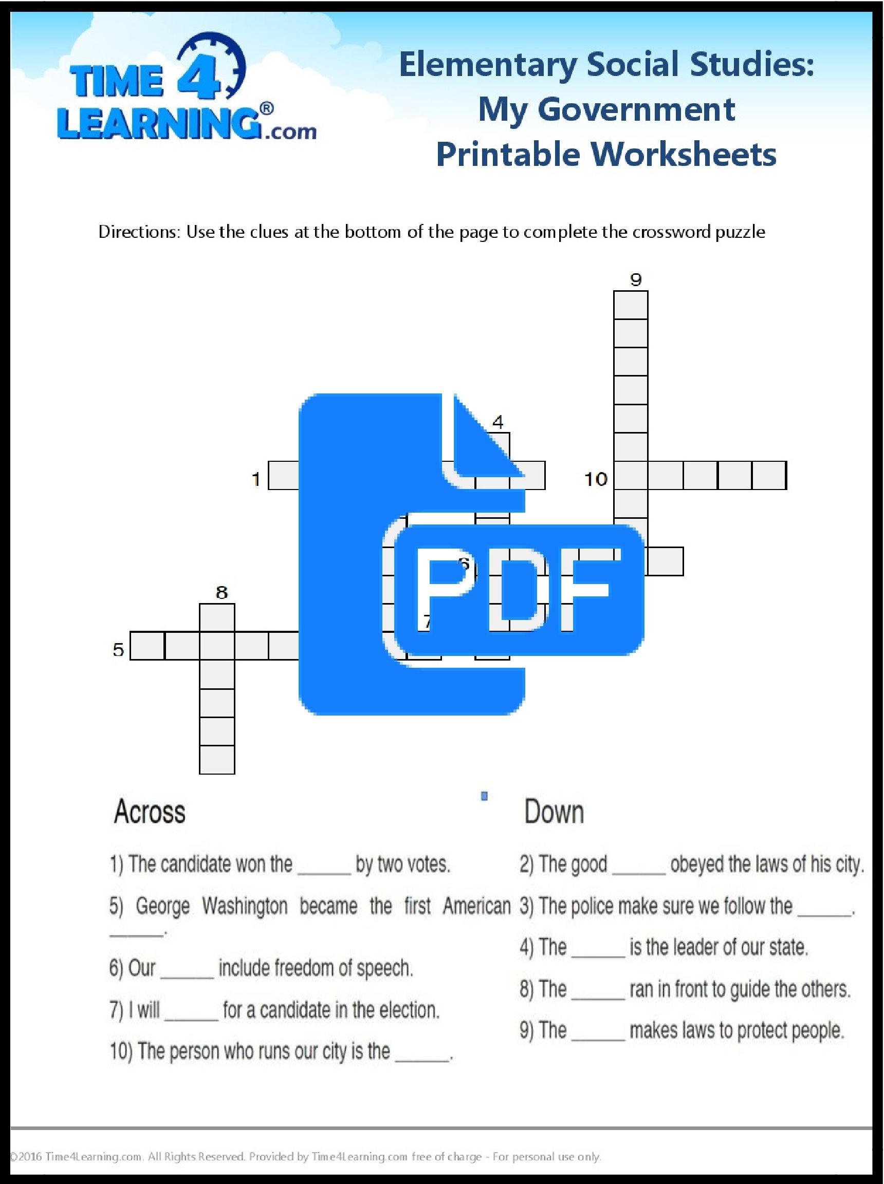 Elementary Social Stu S Worksheets Printable