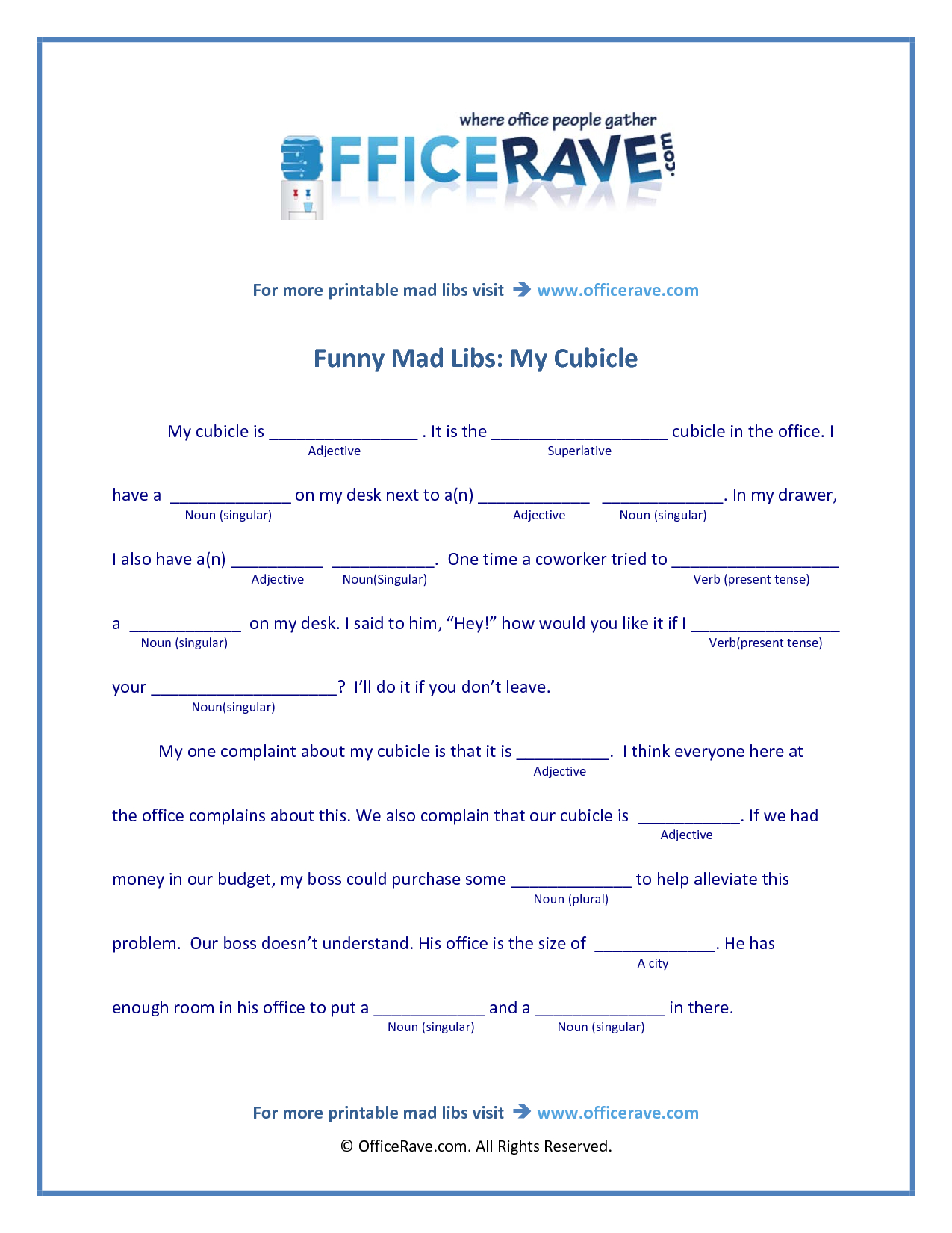 Funny Mad Libs Printable Worksheets