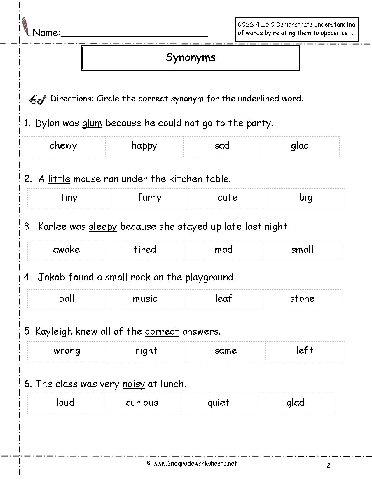 Free Printable Worksheets Synonyms Antonyms And Homonyms