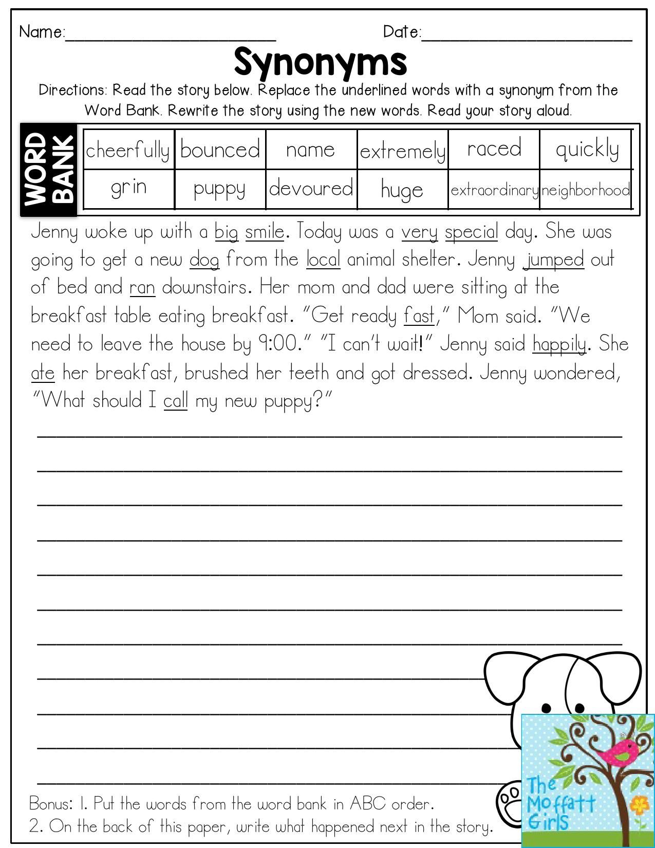 Antonyms Synonyms And Homophones Worksheet