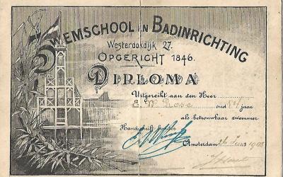 Diploma – Zwemschool en Badinrichting Westerdoksdijk Amsterdam (1905)