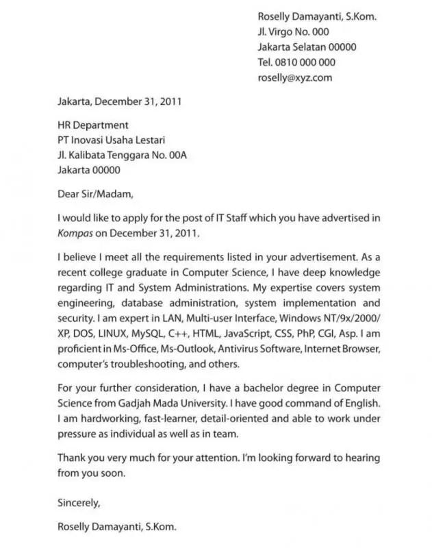 Surat Lamaran Kerja Bahasa Inggris Untuk Posisi Penulis