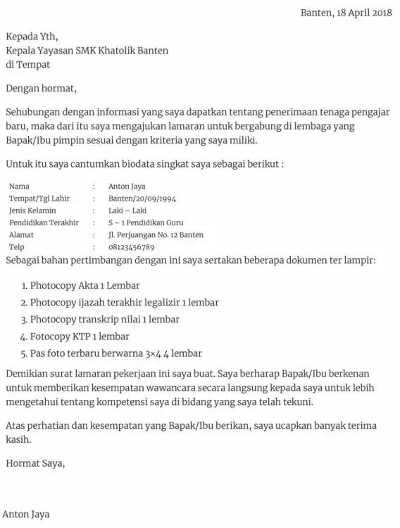 Contoh Surat Lamaran Kerja Di Bidang Pendidikan