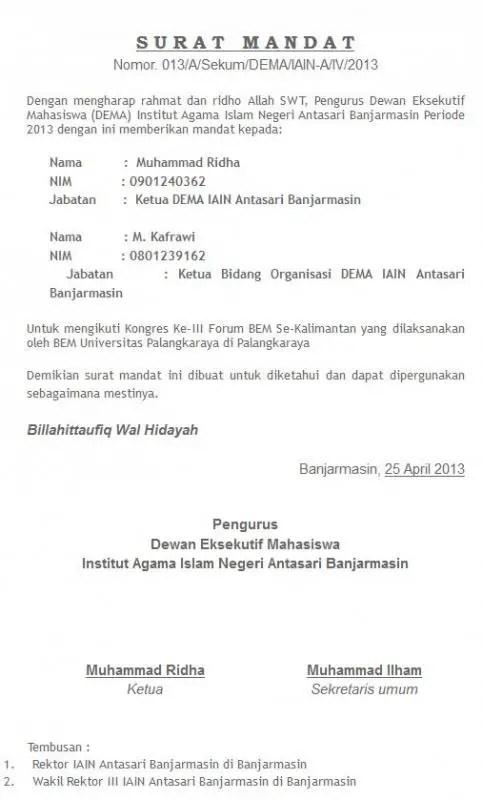 Contoh Surat Mandat Pemerintah