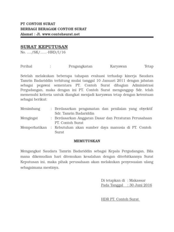 Contoh Surat Pengangkatan Karyawan Dan Jabatan Tertentu