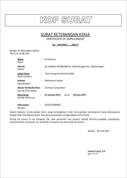 Contoh Surat Pengunduran Diri Sebagai Karyawan Kontrak (Belum Habis Masa Kontrak)