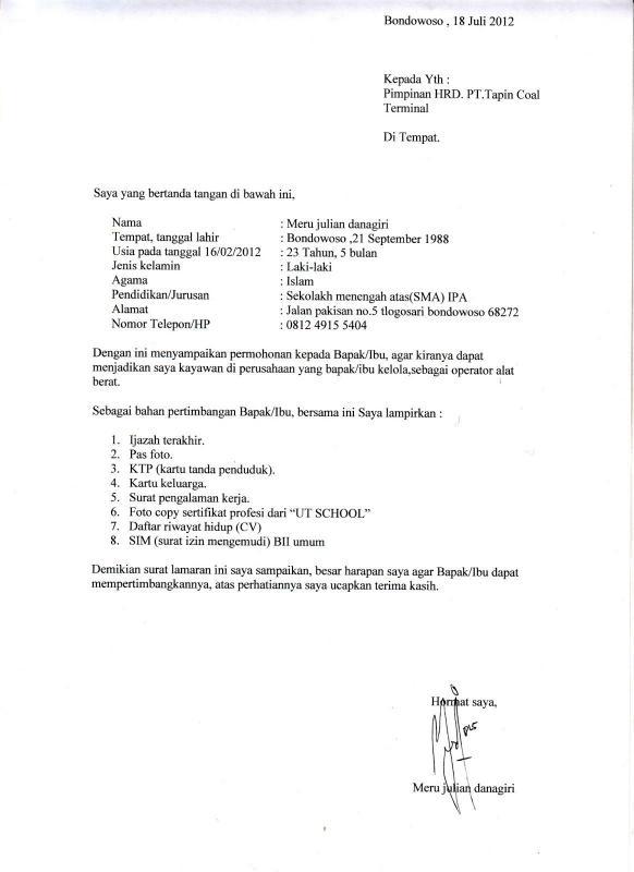 Contoh Surat Permohonan Kerja Fresh Graduate