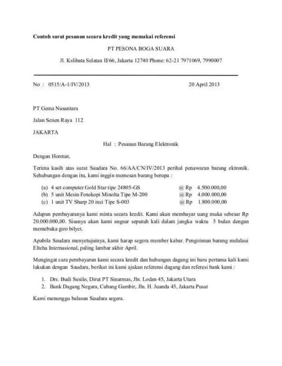 Contoh Surat Pesanan Toko