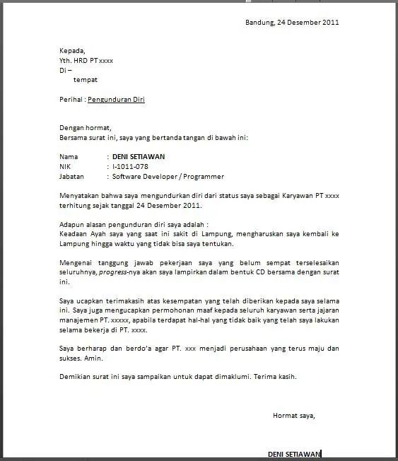 Contoh Surat Resign Dari Pabrik