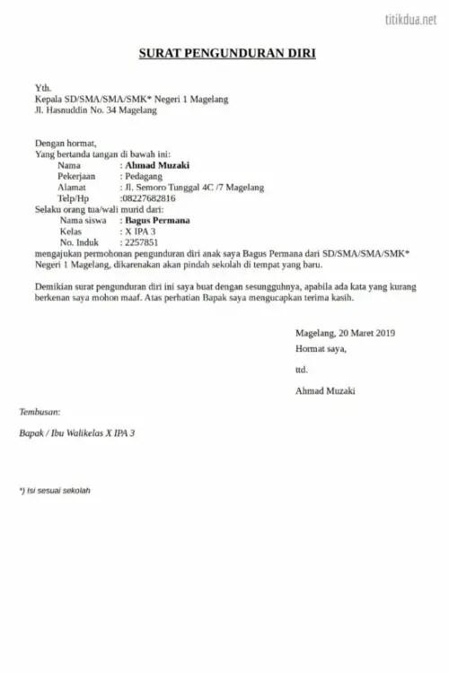 31 Contoh Surat Pengunduran Diri Surat Resign Kerja Dengan Alasan