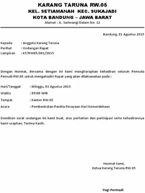 Contoh Surat Undangan Resmi Rapat Rumpun Tetangga (RT)